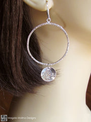 The Hammered Silver LOVE: INFINITE Spiral Affirmation Hoop Earrings