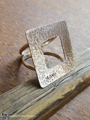 The Square Hammered Silver LOVE Affirmation Ring