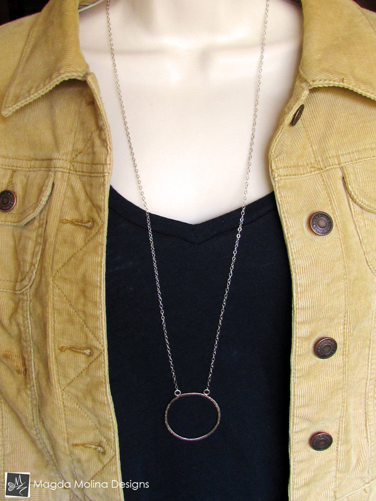 The Long, Simple & Elegant Hammered Silver Ring Necklace
