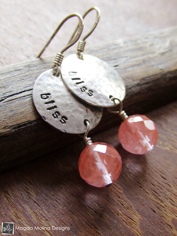 The Cherry Quartz BLISS Affirmation Earrings (choose from 5 words)