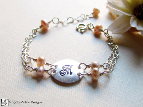 Mini Goddess (children) Personalized Silver And Freshwater Pearls Bracelet