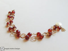 The Glamorous Gold And Faceted Carnelian Double Stranded Bracelet