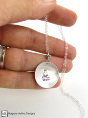 The Hand Stamped Silver Buddha And Peace Necklace
