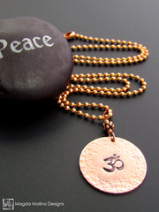 The Hand Stamped And Hammered Copper OM Necklace