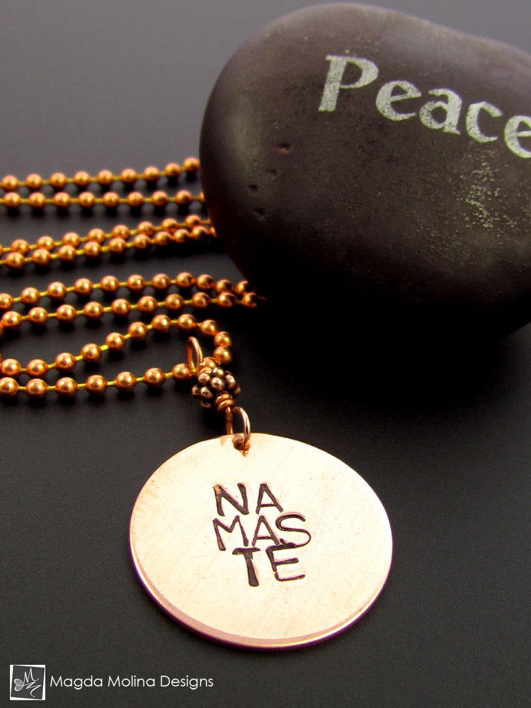 The Hand Stamped NAMASTE Copper Necklace