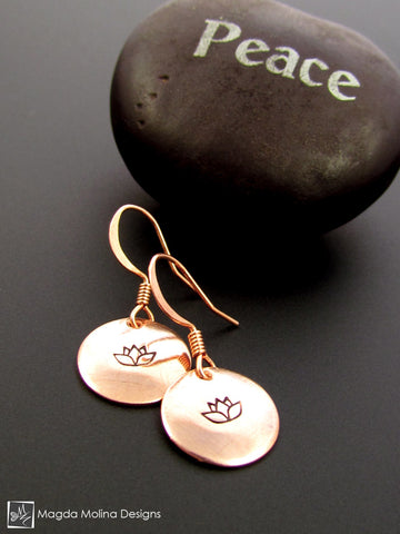The Stamped Lotus Flower Copper Earrings