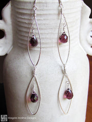 The Hammered Silver Feather Earrings With Dangling Purple Quartz