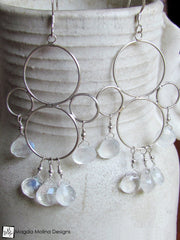 The Silver Bubbles And Moonstone Chandelier Earrings