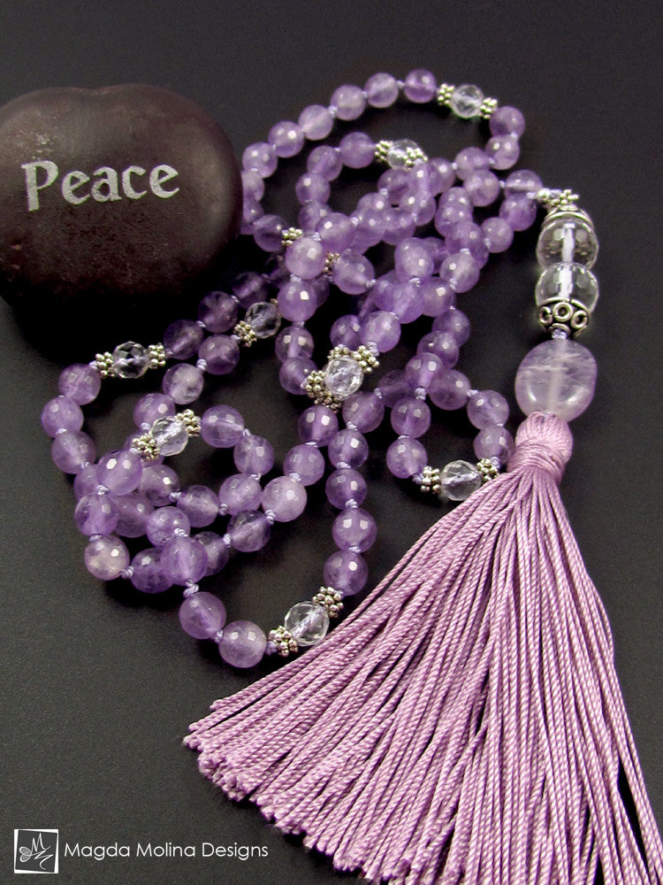 The Lavender Amethyst And Crystal Quartz MALA Necklace With Silk Tassel