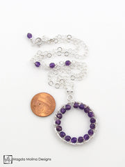 The Infinity Circle Hammered Silver Necklace With Amethyst Gemstones
