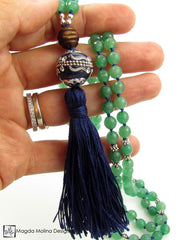 The Green Aventurine and Wood MALA Necklace With Blue Silk Tassel