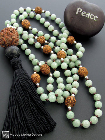 The Light Green Aventurine And Rudraksha MALA Necklace With Black Silk Tassel
