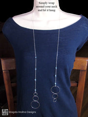 "The ""47 Different Ways"" Silver Bubbles Lariat With Blue Topaz Gemstones"