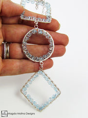 Long Geometric Silver Necklace With Blue Topaz Gemstones