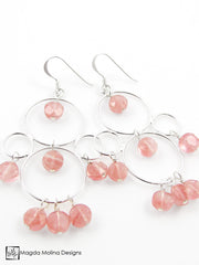 The Silver Bubble Cluster And Faceted Cherry Quartz Earrings