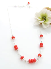 Mini Goddess (children) Simple Pink Coral Necklace