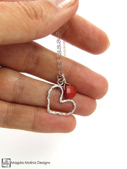 Mini Goddess (children) Red Coral And Delicate Hammered Silver Heart Necklace