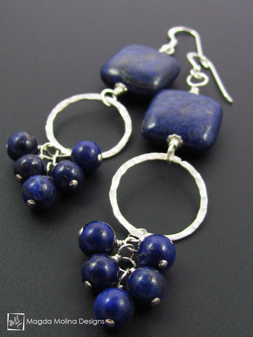 "The ""Bunches of Grapes"" Lapis Lazuli And Hammered Silver Earrings"