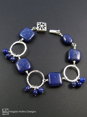 The Chunky Lapis Lazuli And Hammered Silver Rings Bracelet