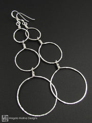 The Hammered Silver or Gold Bubbles Earrings