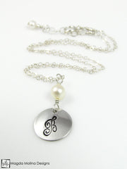 Mini Goddess (children) Personalized Silver And Freshwater Pearl Chain Necklace