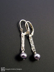 The Hammered Silver Bar And Midnight Blue Pearl Delicate Earrings