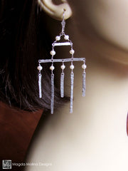 The Hammered Silver Architectural Chandelier Earrings With Freshwater Pearls