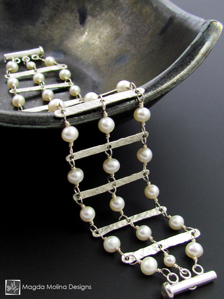 The Hammered Silver Ladder Architectural Bracelet With Freshwater Pearls