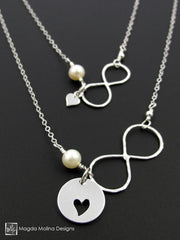 Mother - Daughter Infinite Love Silver And Pearls Necklace Set
