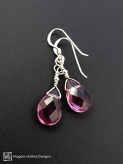 The Gold or Silver And Purple Quartz Mini Pear Shaped Drop Earrings