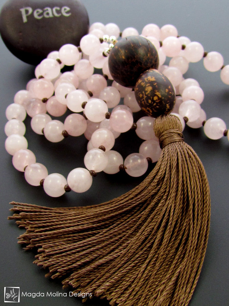The Rose Quartz MALA Necklace With Brown Silk Tassel