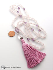 The Rose Quartz, Amethyst and Crystal Quartz MALA Necklace With Pink Silk Tassel