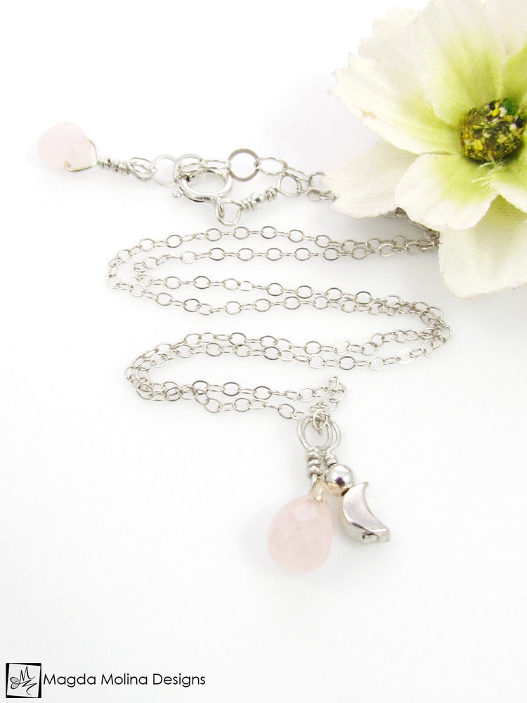 Mini Goddess (children) Rose Quartz And Mini Crescent Moon Charm Necklace