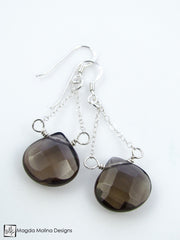 The Faceted Smokey Quartz & Silver Chain Dangle Earrings