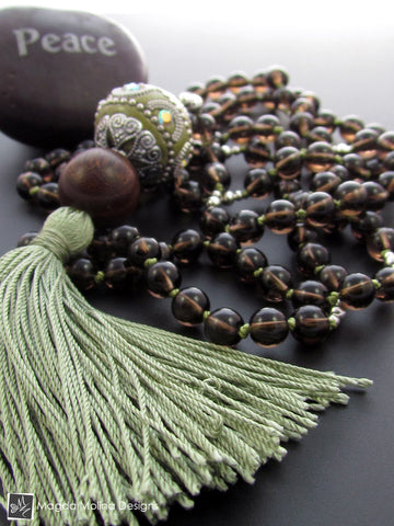 The Smokey Quartz And Wood MALA Necklace With Green Silk Tassel