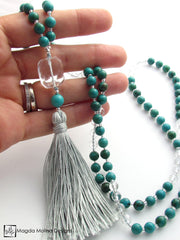 The Turquoise and Crystal Quartz MALA Necklace With Aqua Silk Tassel
