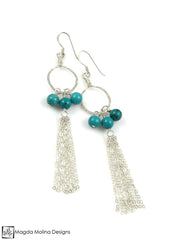 The Long Delicate Turquoise And Silver Tassel Dangle Earrings