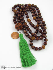 The Wood And Rudraksha MALA Necklace With Changeable Cotton Tassel