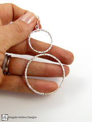 The Large Hammered Silver Double Hoop Earrings