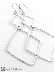 The Long Hammered Silver Double Diamond Earrings