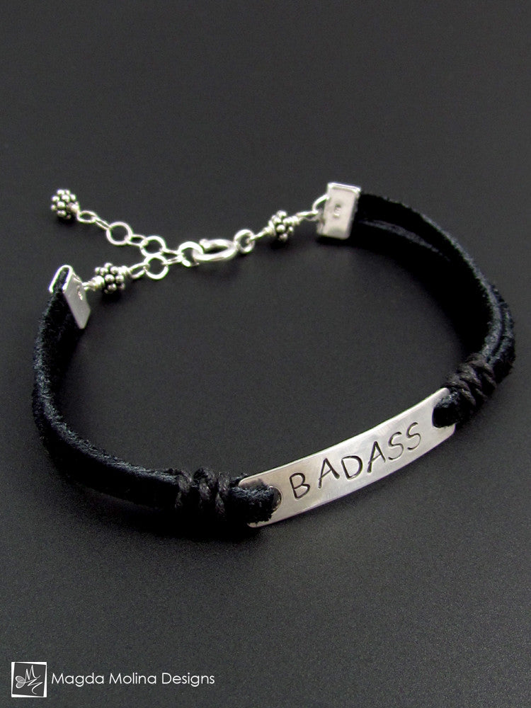 "The ""BADASS"" Black Suede And Silver Handstamped Bracelet"