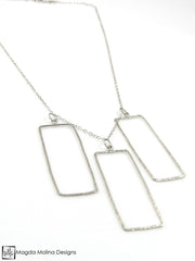 The Hammered Silver Rectangles Necklace