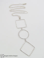 The Long Hammered Silver Geometric Necklace