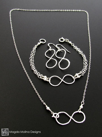 Set: Silver Infinity Necklace, Bracelet and Earrings