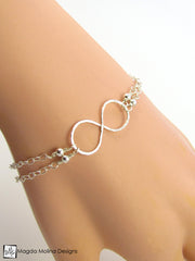 Set: Silver Infinity Bracelet and Earrings
