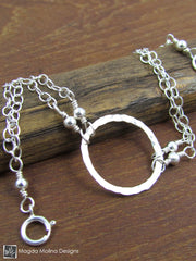 The Delicate Hammered Silver Ring Bracelet