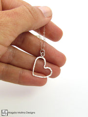 Mini Goddess (children) Delicate Hammered Silver Heart Necklace