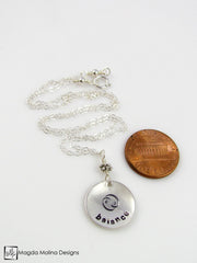 The Hand Stamped Silver BALANCE Affirmation Necklace