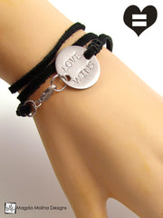 The JUST LOVE or LOVE WINS Stainless Steel Omnisex Suede Wrap Bracelet