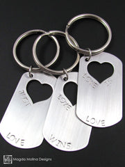 The JUST LOVE, LOVE WINS or LOVE IS LOVE Stainless Steel Keychain With Heart Cut-out